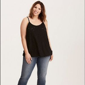 Torrid EYELET SWING TANK TOP Deep Black EUC 4X